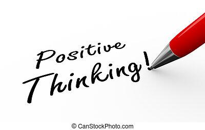 3d pen writing positive thinking illustration