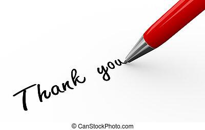 3d pen writing thank you - 3d render of a pen writing thanks...