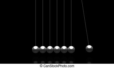 3D pendulum - Newton's Cradle - on black background - great for topics like time, impact etc.