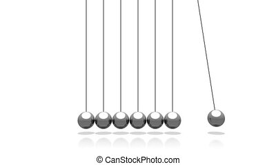 3D pendulum - Newton's Cradle - on white background - great for topics like time, impact etc.