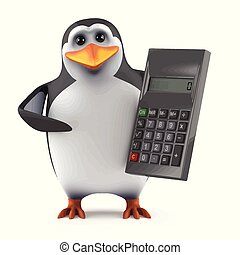 3d Penguin accountant - 3d render of a penguin with a...