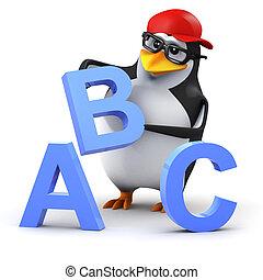 3d Penguin alphabet