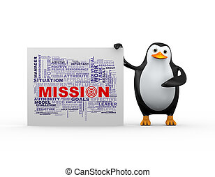 3d penguin and mission wordcloud tags