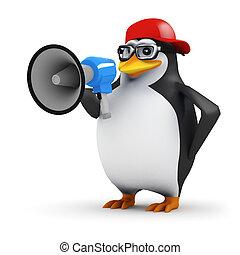 3d Penguin announcer