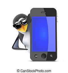 3d Penguin behind a smartphone - 3d render of a penguin...