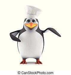 3d Penguin chef