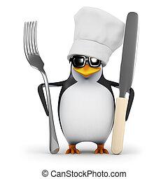 3d Penguin chef is ready for dinner