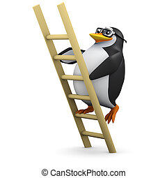 3d Penguin climbs the ladder - 3d render of a penguin...
