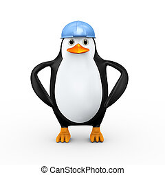3d penguin construction worker