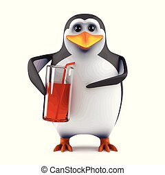 3d Penguin enjoys a drink