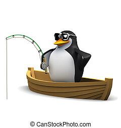 3d Penguin fishing off a dinghy - 3d render of a penguin...