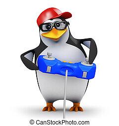 3d Penguin gamer