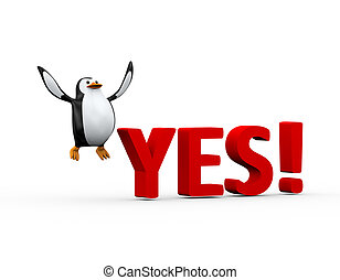 3d penguin happy jump and word yes