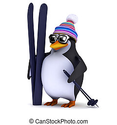 3d Penguin has some skis