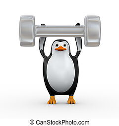 3d penguin holding big dumb bell