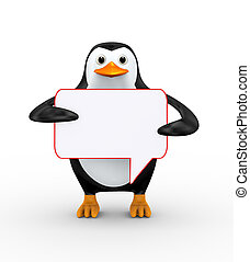 3d penguin holding empty bubble speech