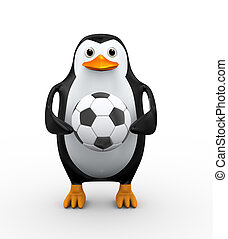 3d penguin holding soccer football