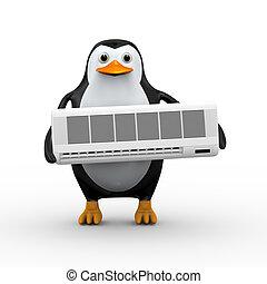 3d illustration of cute penguin holding conditioner split unit