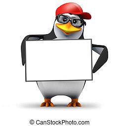 3d Penguin holds a blank banner