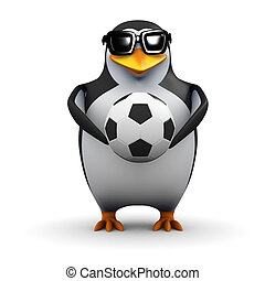 3d Penguin holds a football