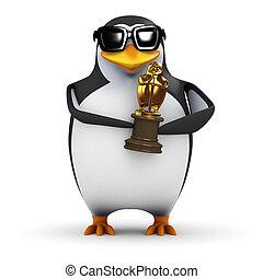 3d Penguin holds a gold award