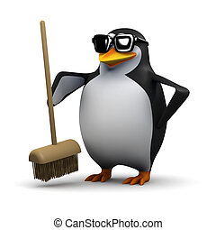 3d Penguin holds out a broom