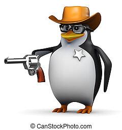 3d Penguin is sheriff