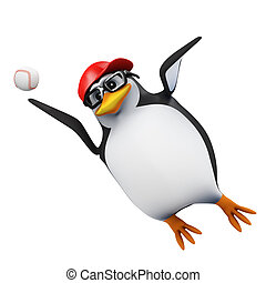 3d Penguin leaps to catch baseball - 3d render of a penguin...
