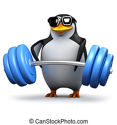 3d Penguin lifting heavy weights