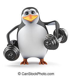3d Penguin lifts dumbells