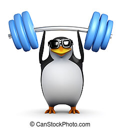 3d Penguin lifts weights above his head - 3d render of a...