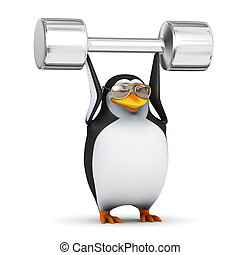 3d Penguin lifts weights above his head