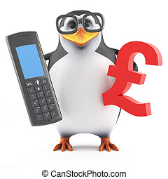 3d Penguin looks at the price of a mobile phone