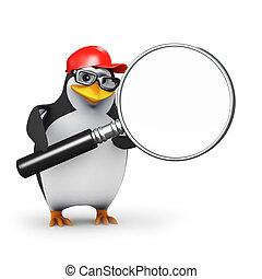 3d Penguin magnifier - 3d render of a penguin with a...