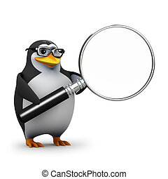 3d Penguin magnifier - 3d render of an academic penguin with...
