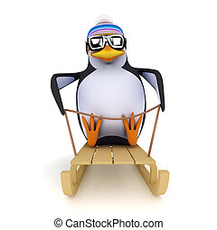 3d Penguin on a sled