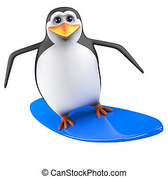 3d Penguin on a surfboard