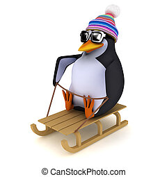 3d Penguin on a toboggan