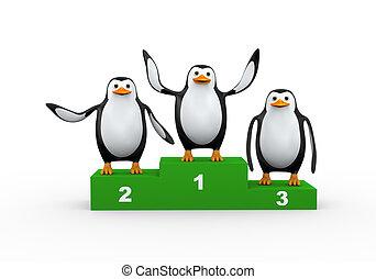 3d penguin on winner podium