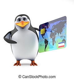 3d Penguin pays with a credit card - 3d render of a penguin ...