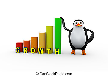 3d penguin person growth progress bars