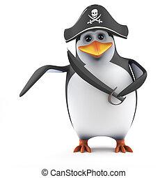 3d Penguin pirate
