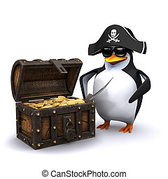 3d Penguin pirate with his treasure chest full of gold