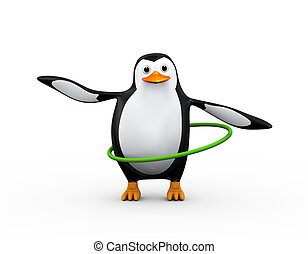 3d penguin plays hula hoop exercise