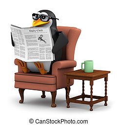 3d render of a penguin sitting in a chair reading a newspaper