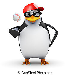 3d Penguin ready to pitch
