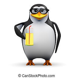 3d Penguin relaxes at the party with a refreshing drink