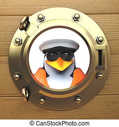 3d penguin sailor captain in sailors hat looking out of a brass porthole, port hole, 3d illustration