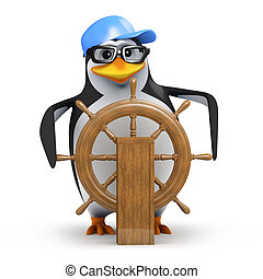 3d Penguin sails his ship - 3d render of a penguin at the...