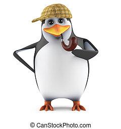 3d Penguin Sherlock - 3d render of a penguin dressed as Mr...